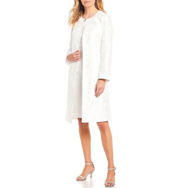 ジョン・メイヤー レディース ワンピース トップス Long Sleeve Jacquard Coat 2-Piece Dress Suit White