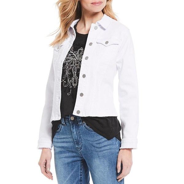 レバ レディース ジャケット&ブルゾン アウター Denim Long Sleeve Frayed Cuff Detail Jacket White