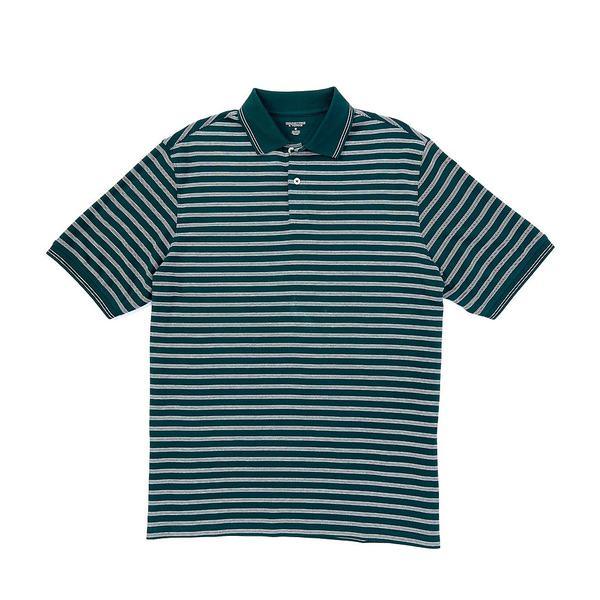 ランドツリーアンドヨーク メンズ ポロシャツ トップス Short-Sleeve Stripe Polo Spruce Green