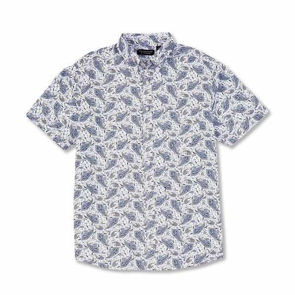 ランドツリーアンドヨーク メンズ シャツ トップス Big & Tall Short-Sleeve Paisley Tailored to Wear Untucked Sportshirt White
