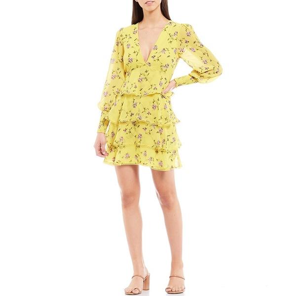 ジアーニビニ レディース ワンピース トップス Audrey Floral Long Sleeve Deep V-Neck Tiered Chiffon Dress Limoncello/Iris Floral