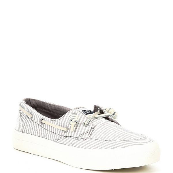 スペリー レディース デッキシューズ シューズ Crest Boat Seersucker Stripe Print Boat Shoes Grey/White