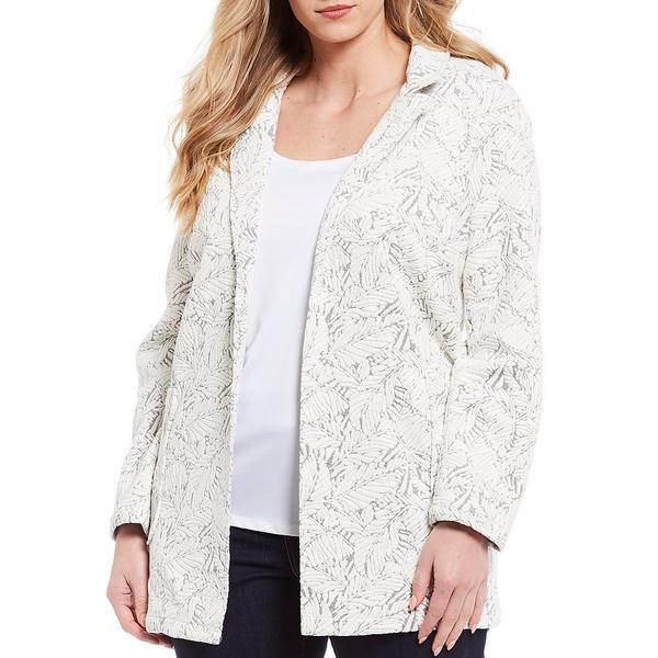 チェルシーアンドセオドール レディース ジャケット&ブルゾン アウター Plus Size Knit Jacquard Long Sleeve Notch Collar Jacket Print