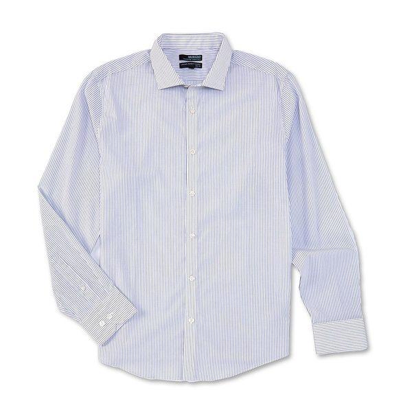 ムラノ メンズ シャツ トップス Big & Tall Wardrobe Essentials Stripe Long-Sleeve Woven Shirt White