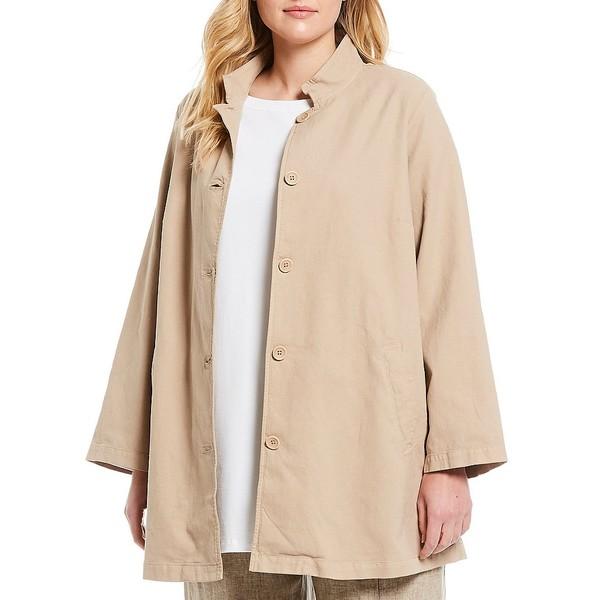エイリーンフィッシャー レディース ジャケット&ブルゾン アウター Plus Size Organic Stretch Cotton Hemp Canvas Stand Collar Jacket Khaki