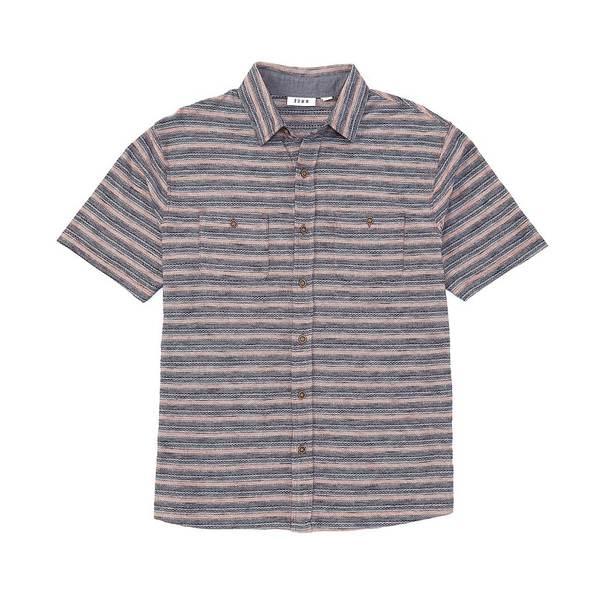 ロウン メンズ シャツ トップス Short-Sleeve Coat Front Knit Shirt Rustic Brown