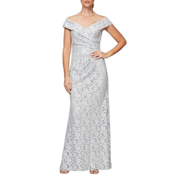 アレックスイブニングス レディース ワンピース トップス Off-the-Shoulder Lace Gown Hydrangea