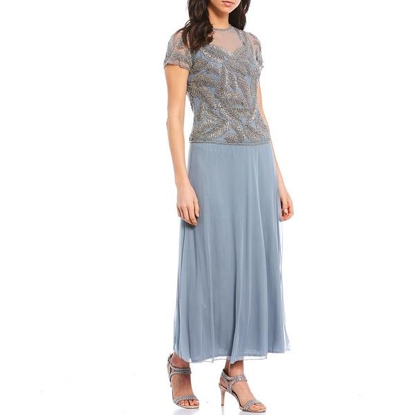 ピサッロナイツ レディース ワンピース トップス Illusion Neck Short Sleeve Beaded Gown Light Blue