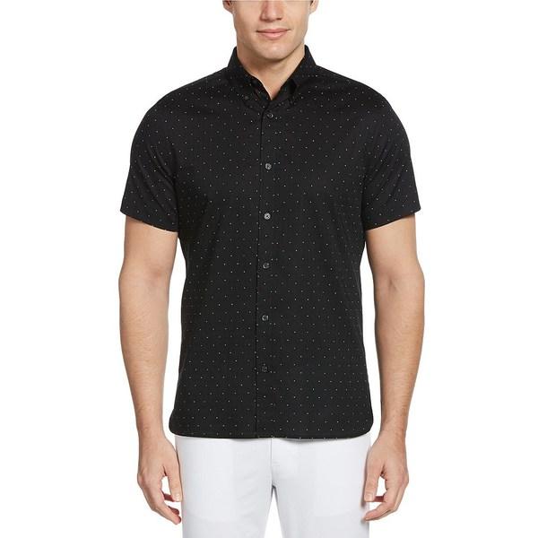 ペリーエリス メンズ シャツ トップス Dot Print Dobby Short-Sleeve Woven Shirt Black