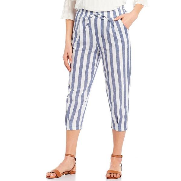 エム・メイド・イン・イタリー レディース カジュアルパンツ ボトムス M Made In Italy Woven Stripe Linen Blend Crop Pull-On Pant Jeans Combo