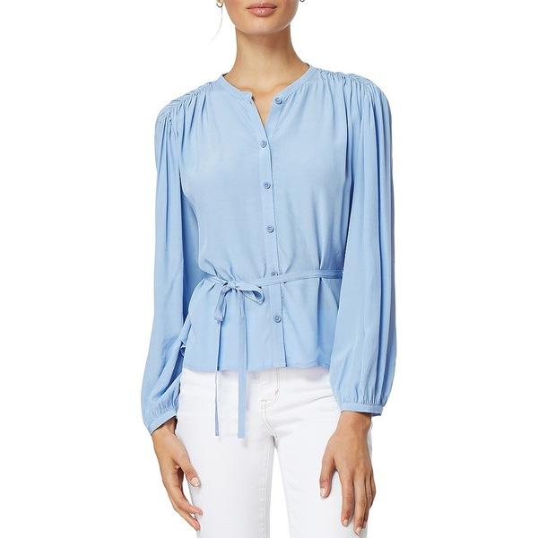 ハビチュアル レディース シャツ トップス Nissa Gathered Shoulder Self Tie Button Front Long Sleeve Blouse Bel Air Blue