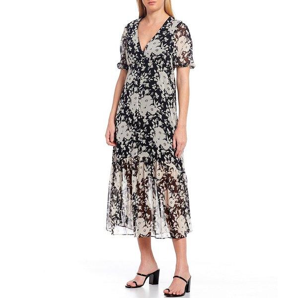 サンクチュアリー レディース ワンピース トップス Florence Floral V-Neck Short Sleeve Midi Dress Shadow Bloom