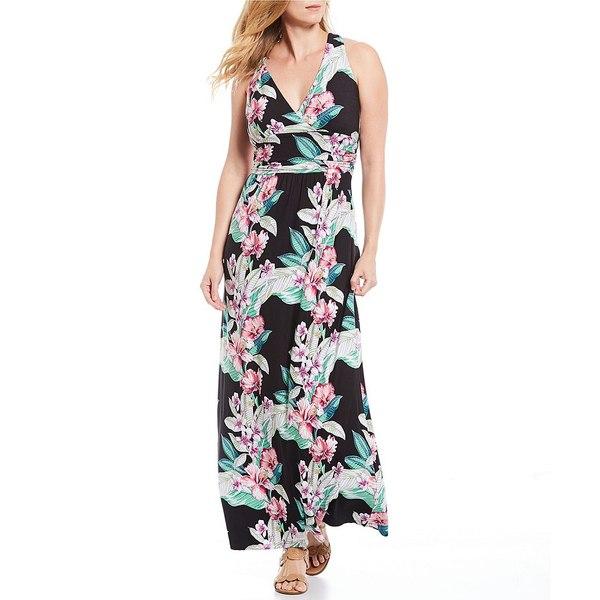 トッミーバハマ レディース ワンピース トップス Maria Mambo Floral Print Halter Neck Maxi Dress Black