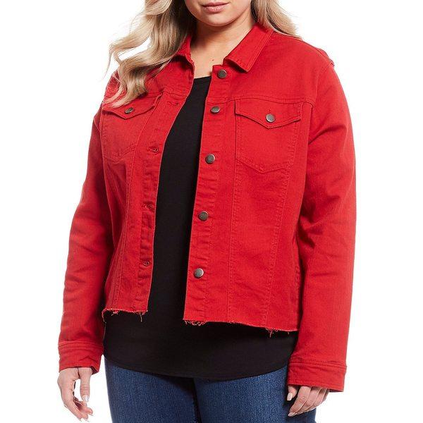 ウェストボンド レディース ジャケット&ブルゾン アウター Plus Size Fray Hem Jacket Mars Red