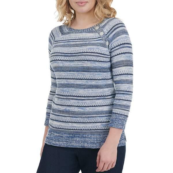 アリソンダーレイ レディース ニット&セーター アウター Petite Size Textured Striped Cotton-Blend Button Detail 3/4 Sleeve Sweater Denim Stripe