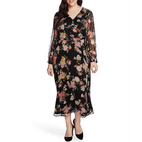 ヴィンスカムート レディース ワンピース トップス Plus Size Long Illusion Sleeve V-Neck Floral Faux Wrap Midi Dress Rich Black