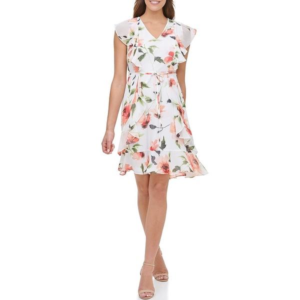 トミー ヒルフィガー レディース ワンピース トップス Flutter Sleeve V-Neck Floral Chiffon Dress Ivory/Red