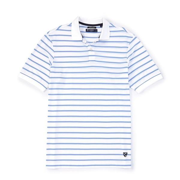 クレミュ メンズ ポロシャツ トップス Supima Cotton Stripe Short-Sleeve Polo Shirt Whiteness
