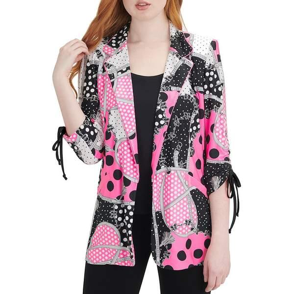 ピーターニガード レディース ジャケット&ブルゾン アウター Knit Chiffon 3/4 Sleeve Mixed Polka Dot & Chain Print Jacket Black/Pink/Charcoal/Dot