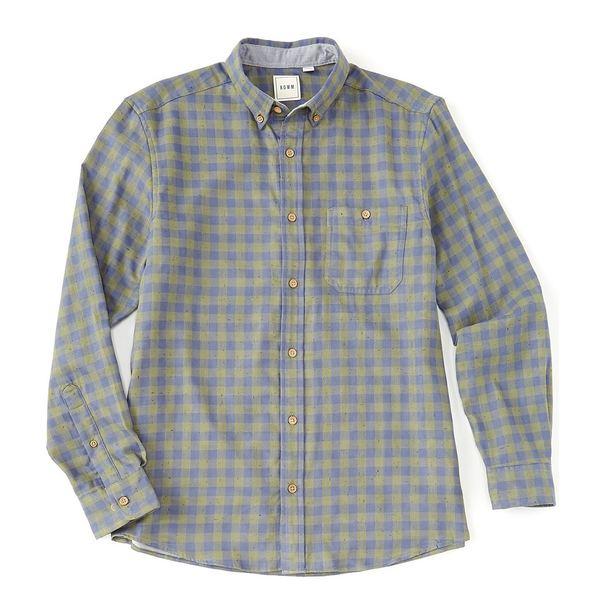 ロウン メンズ シャツ トップス Long-Sleeve Double-Faced Checked Sportshirt Green