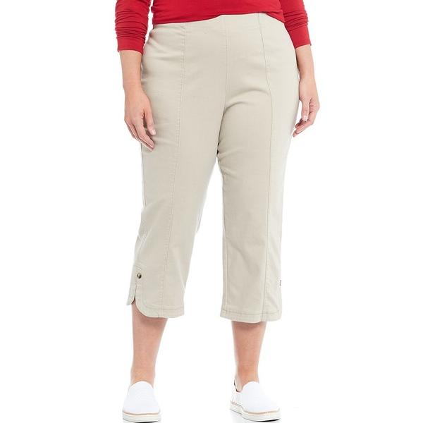 イントロ レディース カジュアルパンツ ボトムス Plus Size Nia Pull-On Curved Hem Capri Pants Classic Khaki
