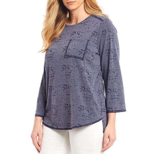 ウェストボンド レディース Tシャツ トップス Plus Size Round Neck 3/4 Sleeve One Pocket Tee Evening Blue