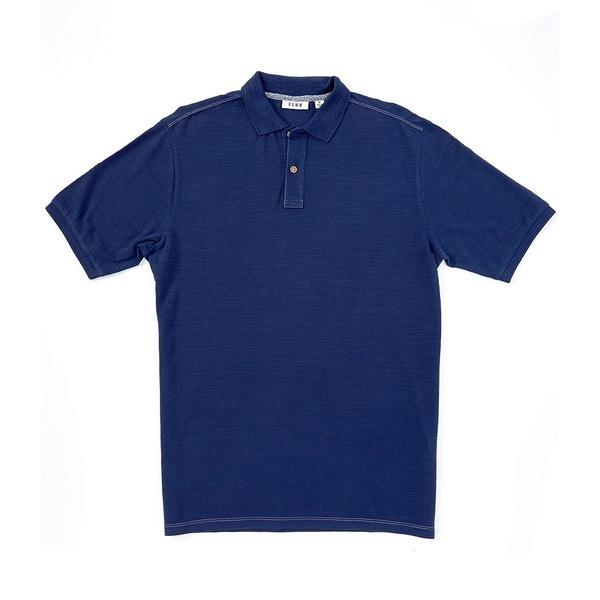 ロウン メンズ ポロシャツ トップス Short-Sleeve Slub Pique Organic Cotton Polo Navy