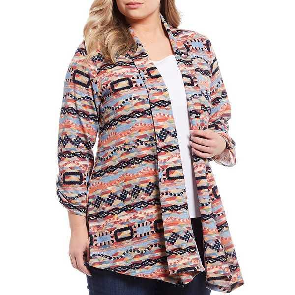 マルチプルズ レディース ジャケット&ブルゾン アウター Plus Size Multi Print Shawl Banded Collar Open Front Jacket Multi