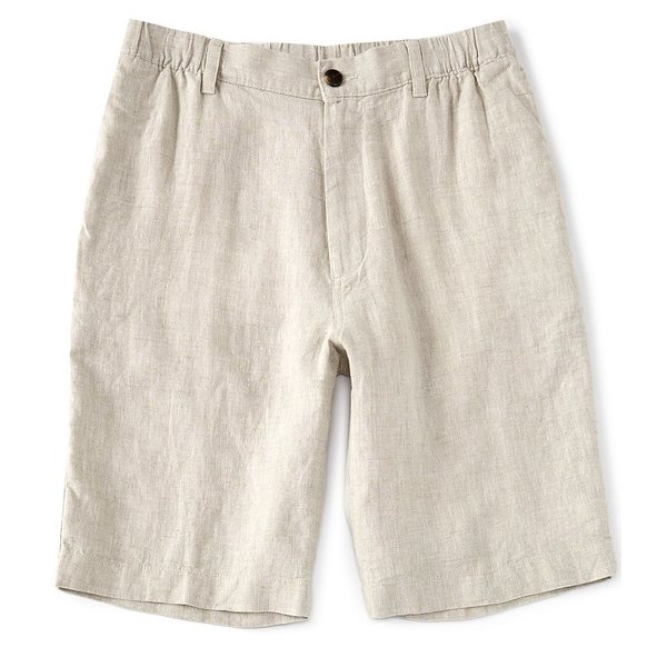 カリビーン メンズ ハーフ&ショーツ ボトムス Flat-Front Linen 10#double; Inseam Shorts Natural