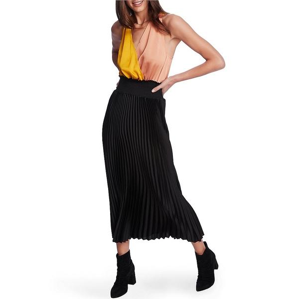 ワンステート レディース ワンピース トップス Sleeveless Colorblock Pleated Satin Midi A-Line Dress Rich Black