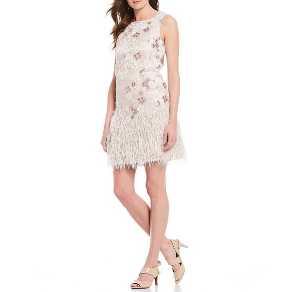 アレックスマリー レディース ワンピース トップス Sawyer Embroidered Floral Novelty Metallic Feather Detail Dress Pale Pink/Ivory