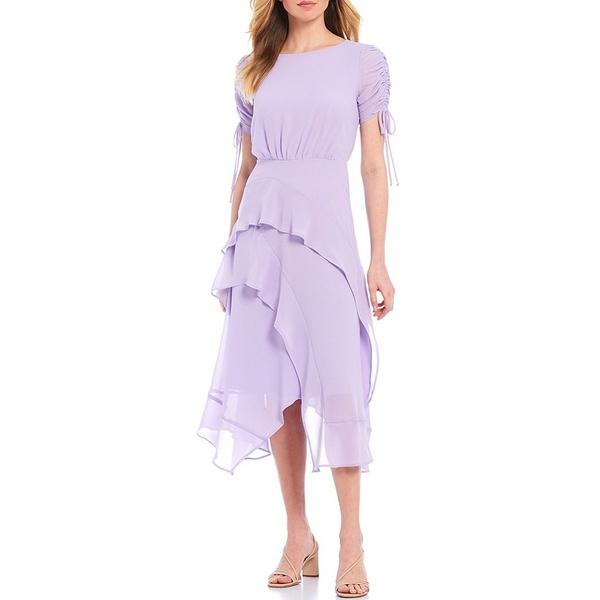 メゾン タラ レディース ワンピース トップス Ruched Tie Sleeve Tiered Asymmetric Hem Midi Dress Lilac