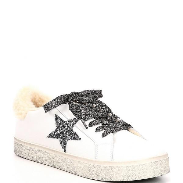 スティーブ マデン レディース スニーカー シューズ Polarize Leather and Faux Fur Trim Sneakers White/Natural