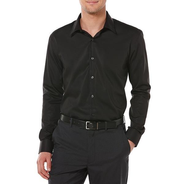 ペリーエリス メンズ シャツ トップス Big & Tall Non-Iron Long-Sleeve Woven Shirt Black