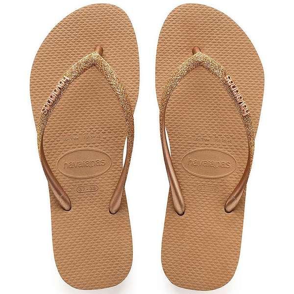 ハワイアナス レディース サンダル シューズ Women's Slim Glitter Flip Flops Rose Gold