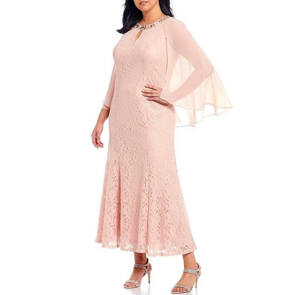 イグナイトイブニングス レディース ワンピース トップス Plus Size Sequin Lace Capelet Gown Faded Rose