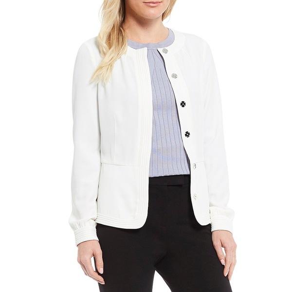 ダナキャラン レディース ジャケット&ブルゾン アウター New York Long Sleeve Corded Button Front Shirt Jacket Cream