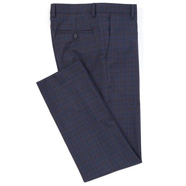 ムラノ メンズ カジュアルパンツ ボトムス Alex Slim-Fit Flat-Front Plaid Dress Pants Navy