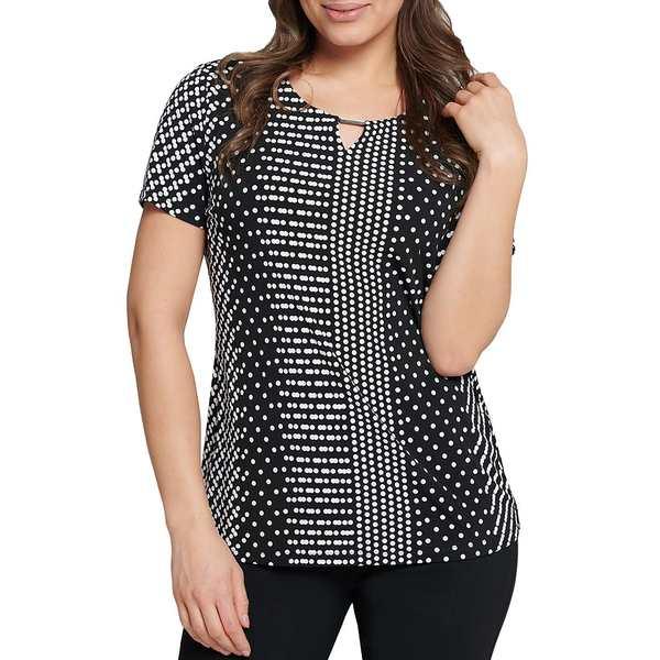 アリソンダーレイ レディース Tシャツ トップス Petite Size Polka Dot Print Keyhole Neck Short Sleeve Top Dot Stripe