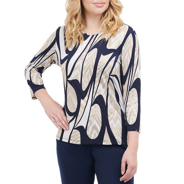 アリソンダーレイ レディース Tシャツ トップス Petite Size Navy Swirls Print Knit Jersey Foil Details 3/4 Sleeve Top Navy Swirls