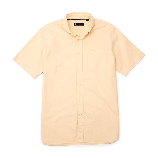 クレミュ メンズ シャツ トップス Short-Sleeve Solid Oxford Woven Shirt Yellow