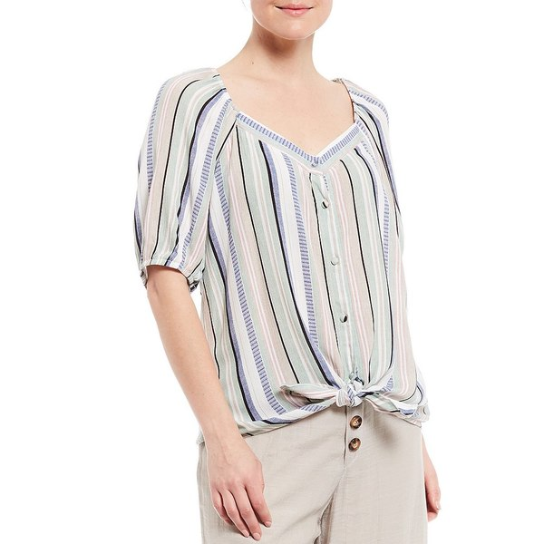 アイエヌスタジオ レディース シャツ トップス Stripe Sweetheart Neck Button Tie Front Crepon Top Sage/Blush Multi Stripe