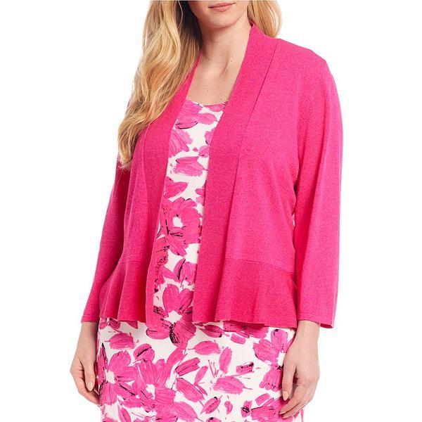 カスパー レディース ニット&セーター アウター Plus Size 3/4 Sleeve Ruffle Hem Shrug Cardigan Pink Perfection