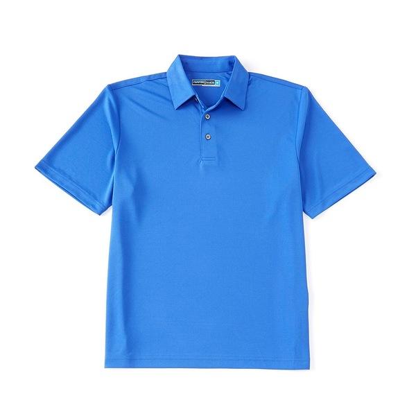 ランドツリーアンドヨーク メンズ シャツ トップス Performance Short-Sleeve Solid Polo Dazzling Blue