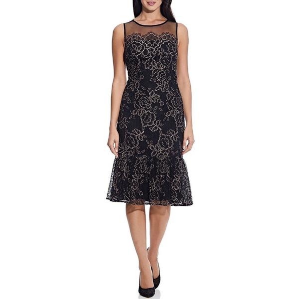 アドリアナ パペル レディース ワンピース トップス Maria Floral Lace Illusion Yoke Flounce Hem Midi Dress Blush/Black