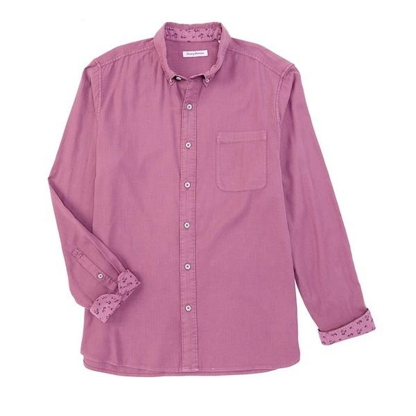トッミーバハマ メンズ シャツ トップス Big & Tall Huntington Herringbone Long-Sleeve Woven Shirt Rum Berry