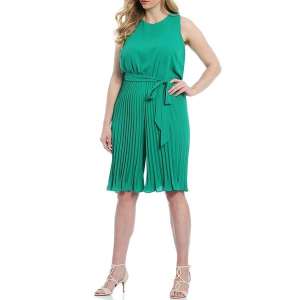 ヴィンスカムート レディース ワンピース トップス Plus Size Sleeveless Pleated Belted Crop Jumpsuit Green