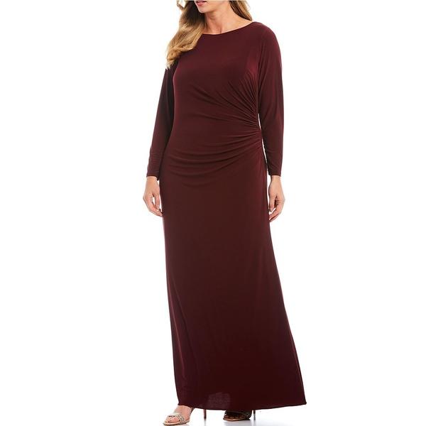 アドリアナ パペル レディース ワンピース トップス Plus Size Draped Matte Jersey Beaded Illusion Back Side Ruched Detail Gown Dark Burgundy