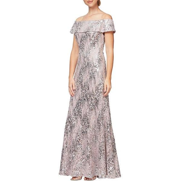 アレックスイブニングス レディース ワンピース トップス Off-The-Shoulder Sequin Lace Gown Pale Blush