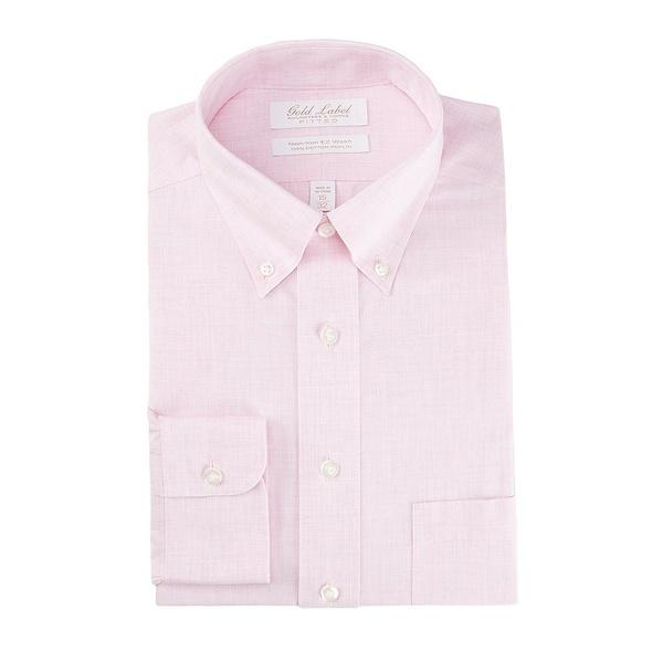 ランドツリーアンドヨーク メンズ シャツ トップス Gold Label Roundtree & Yorke Non-Iron Fitted Button-Down Collar Solid Linen Dress Shirt Pink